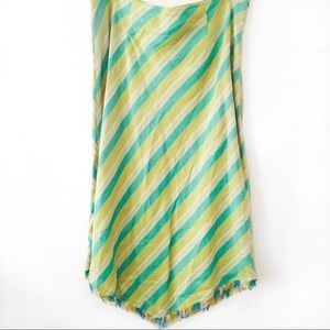 Green and blue stripped and tousled skirt